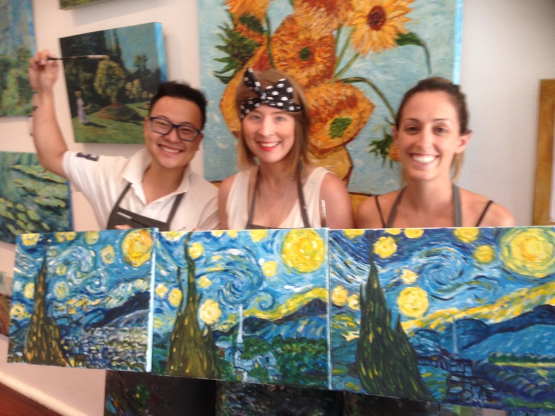Van Gogh's Starry Night painted by beginners in their first lesson at Inglis Academy!